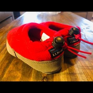 LL Bean XS Fleece slippers toddler  Red NWT